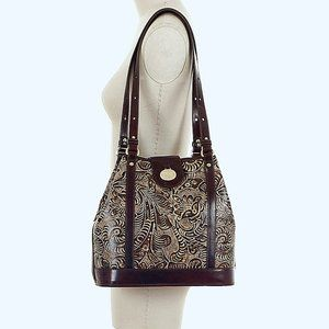 Brahmin Flower Tan Trellis Tote Bag NWOT